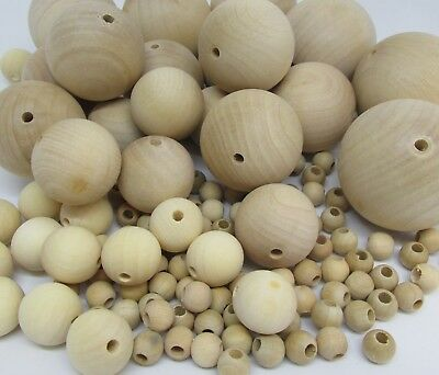 Natural Wooden Craft Balls Wood Beads Sphere with hole 10mm to 50mm Diameter