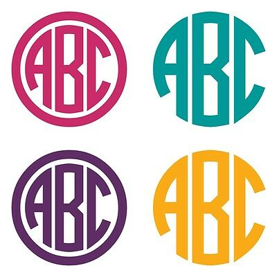 Three Letter Circle Monogram Decal Sticker - TONS OF OPTIONS