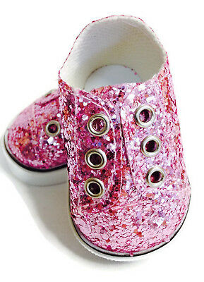 "Pink Glitter Slip On Sneakers Shoes made for 18"" American Girl Doll Clothes"