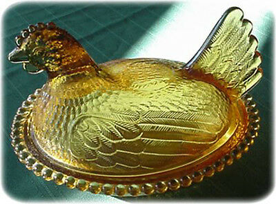 Indiana Amber Glass Hen on a Nest