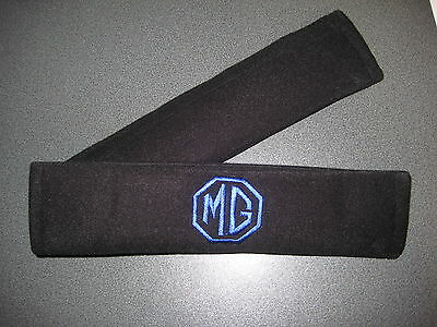 Seat Belt Harness Pads in Black with MG Logo in Blue (MG ZR, MG ZS, MG ZT Logos)