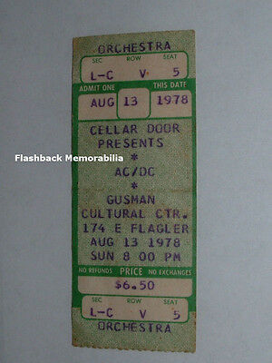 AC/DC Unused 1978 Concert Ticket MIAMI GUSMAN Theatre BON SCOTT Mega Rare AC-DC