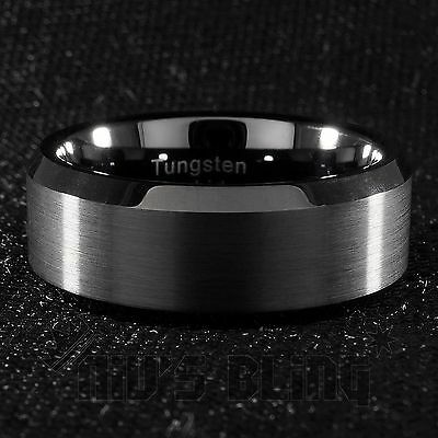 8mm Tungsten Carbide BLACK Wedding Band Polished Engagement Bridal Ring Men