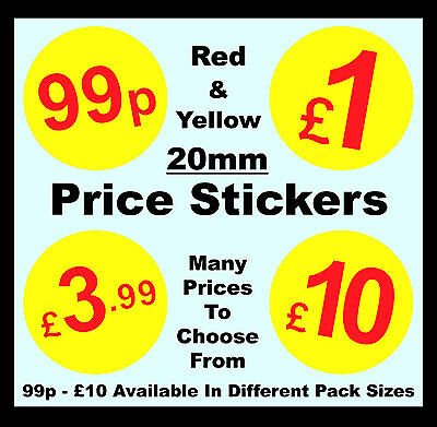 20mm Red & Yellow Price Point Stickers / Sticky Swing Tag Labels £1, £5, £10
