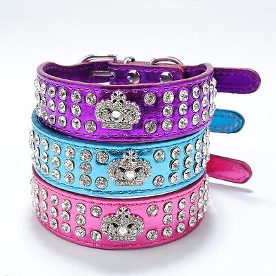New Pet Dog Cat Collar Rhinestone Diamante Crystal Crown Leather Choker Necklace