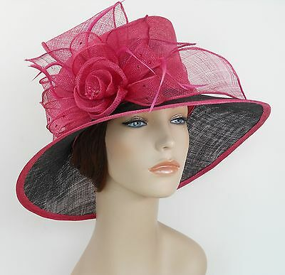 New Woman Church Derby Wedding Sinamay Ascot Dress Hat 3079 Hot Pink and Black