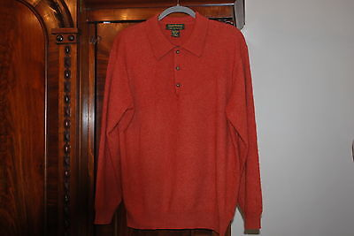 DANIEL BISHOP 100% 2 PLY CASHMERE SWEATER POLO SHIRT LONG SLEEVE LARGE