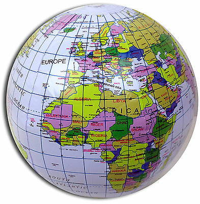 INFLATABLE BLOW UP GLOBE BEACH BALL - EDUCATIONAL ATLAS EARTH WORLD MAP POOL TOY