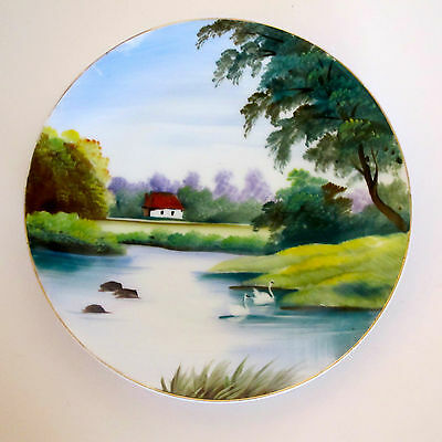 Porcelain Hand Painted Decorative Plate with Countryside & Wildlife, Unmarked