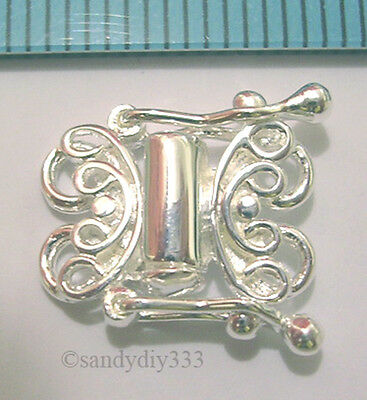 1x STERLING SILVER BRIGHT 2-STRAND BUTTERFLY BOX CLASP #336