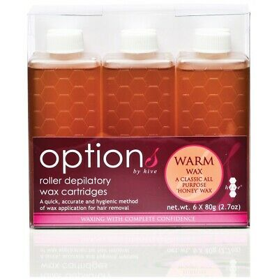 Hive Options Classic Warm Honey Wax Roller Depilatory Waxing Cartridges 6 x 80g