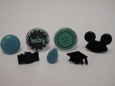 1 x Pack of Teal or Black Themed Brads Paper Fasteners 7 designs  Scrapbooking