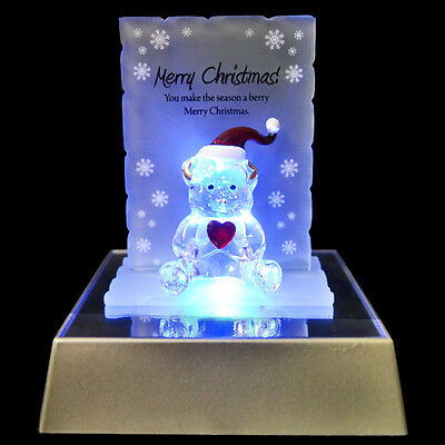 Merry Christmas Bear Figurine Glass Crystal Ornaments Gift Set Xmas & Led Light