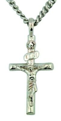 Sterling Silver Cross with CZ Stone 1 Inch Crucifix  on Stainless Steel Chain
