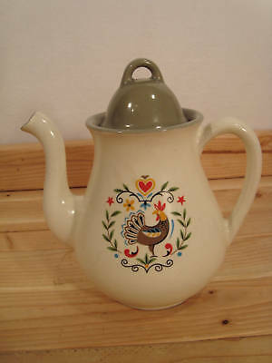 Vintage  a Rooster Country Pitcher  Stoneware Green Orange