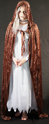 Medieval/Gothic/Pagan/Fantasy Brown Hooded Cloak  fancy Dress All Plus Sizes