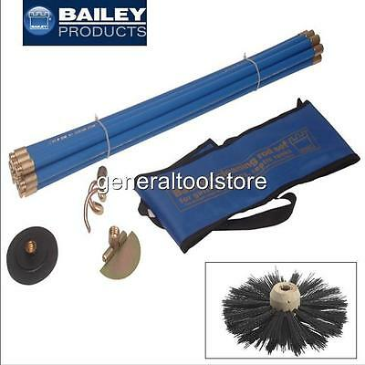 Bailey Chimney Flue Drain Rods, Options For Kit, Brush, Worm, Plunger, Carry Bag