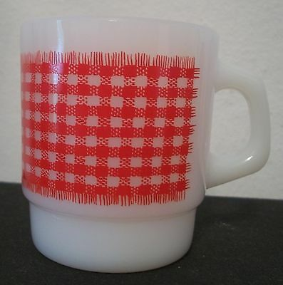 Anchor Hocking Fire King Ware Coffee Mug Red Gingham Plaid Blanket Cup Excellent