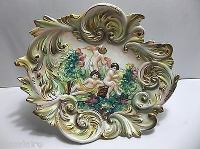 Vintage Italian Pottery CAPODIMONTE Footed Compote NUDE ANGELS Cherubs PUTTI