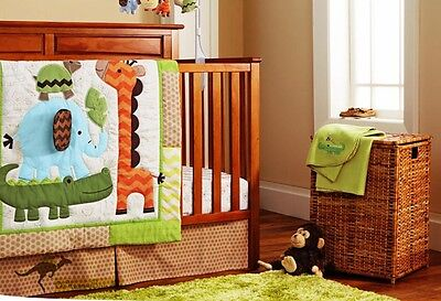 New Baby Boys 8 Pieces Jungle Animal Theme Cotton Nursery Bedding Cot Sets