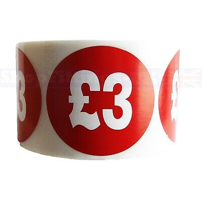 500x RED £3 PRICE SELF ADHESIVE STICKERS STICKY LABELS SWING LABELS FOR RETAIL