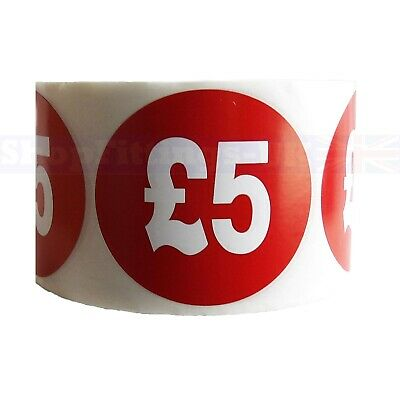 500x RED £5 PRICE SELF ADHESIVE STICKERS STICKY LABELS SWING LABELS FOR RETAIL