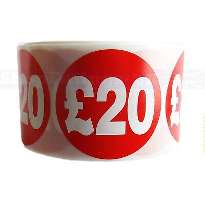 500x RED £20 PRICE SELF ADHESIVE STICKERS STICKY LABELS SWING LABELS FOR RETAIL