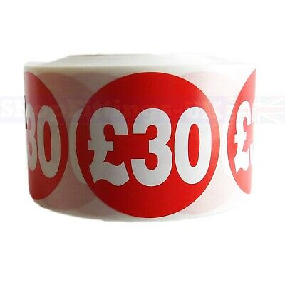 500x RED £30 PRICE SELF ADHESIVE STICKERS STICKY LABELS SWING LABELS FOR RETAIL