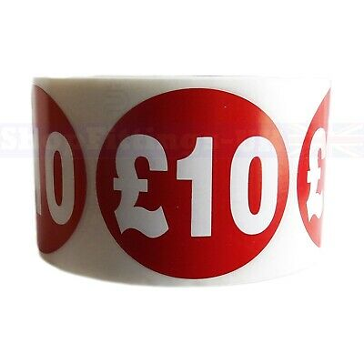 500x RED £10 PRICE SELF ADHESIVE STICKERS STICKY LABELS SWING LABELS FOR RETAIL