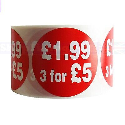 500x RED £1.99, 3 FOR £5 SELF ADHESIVE STICKERS STICKY PRICE LABELS  FOR RETAIL