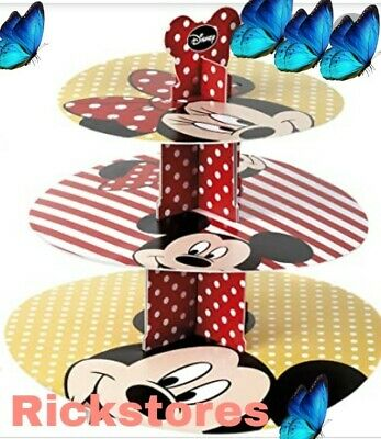 Minnie Mouse 3 Tier Cupcake Cake Stand Display Holder LARGE  Round Kids Party