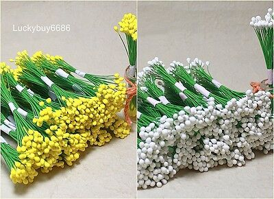 200White & Yellow Double Sided Flower Stamen Wire wrapped Craft Card Artificial