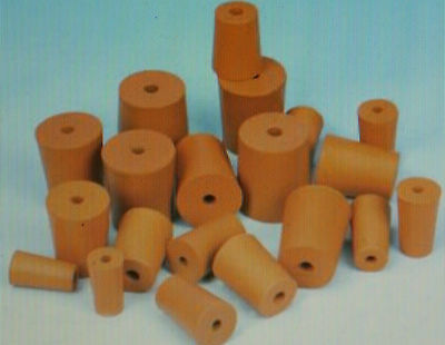 Packs of Red 1 Hole Rubber Stopper Bungs Laboratory sizes from 9mm to 33mm
