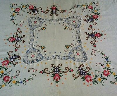 VTG Hand Embroidered Cross Stitch & Crochet Lace Tablecloth Ornate ROSE Floral
