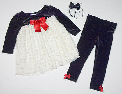 Bonnie Baby Girls 18M Dress Leggings Set Ruffles Bow Special Occasion Holiday