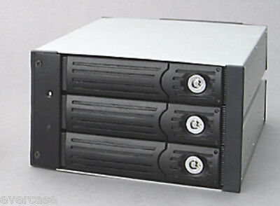 Dual Bay 3x 40pin IDE HDD. 3 in 2 RAID Module. SI-0237A Backplane. Black