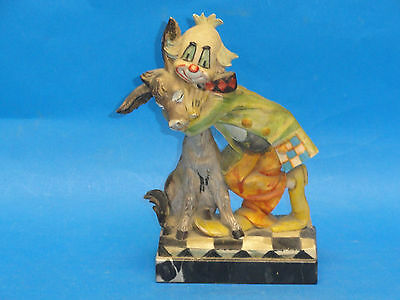 ADORABLE LARGE VINTAGE 60s CHARLES SEROUYA CLOWN & DONKEY FIGURINE