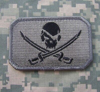 PIRATE SKULL & SWORDS FLAG CALICO JACK TACTICAL ARMY BADGE ACU DARK VELCRO PATCH