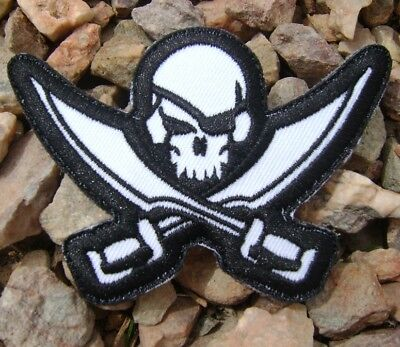 PIRATE SKULL DIECUT SEAL TACTICAL COMBAT ARMY BADGE BLACK OPS SWAT VELCRO PATCH