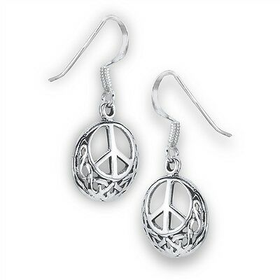 Sterling Silver Celtic Knotwork Hook Dangle Earrings w/ Interior Peace Sign