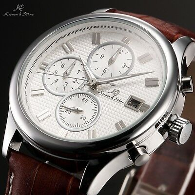 KS Imperial Silver White Day Date Analog Leather Men Automatic Mechanical Watch
