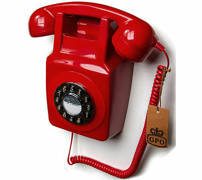 Retro 746 Red GPO Wall Mounted Phone with Push Button Dial