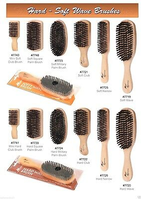 Hard Or Soft Wave Single Wood Brush Available In 6 Sizes Boar & Plastic Bristles