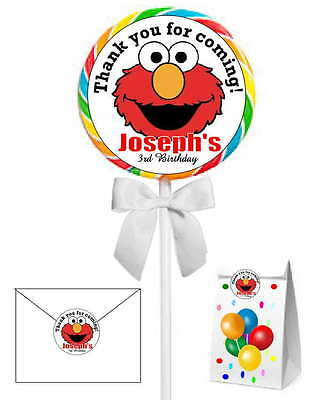 40 ELMO SESAME STREET  BIRTHDAY PARTY LOLLIPOP STICKERS ~ goody bags, seals