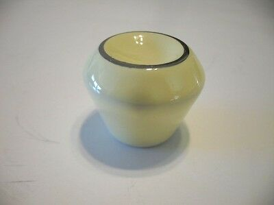 Vintage NOS YELLOW Ceramic Porcelain Cabinet Knobs w White Gold Trim Drawer Pull