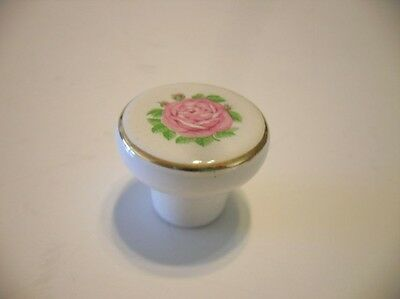 Vtg NOS WHITE Ceramic Porcelain Cabinet Knob w Pink ROSE & Gold Trim Drawer Pull