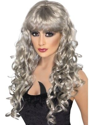 Silver Siren Wig Long Curly with Fringe Adult Womens Smiffys Fancy Dress Costume