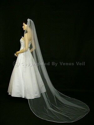 1T Ivory Bridal Cathedral Length Pencil Edge Wedding Veil