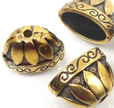 4 Large Golden Pewter Caps Focal Beads ~ Lead-Free ~
