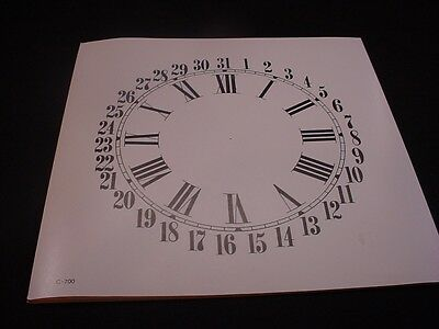 "Replacement 7"" Ivory and Black Paper Calendar Flat Sheen 7RCA Clock Dial ZZ28b"
